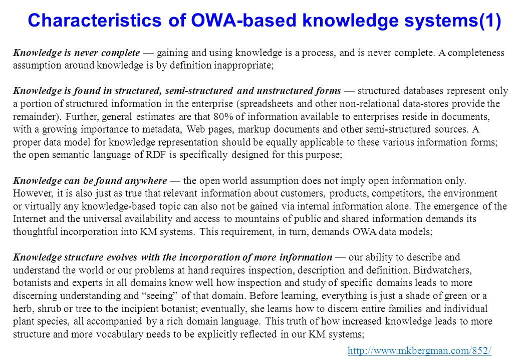 Characteristics of OWA-based knowledge systems(1)