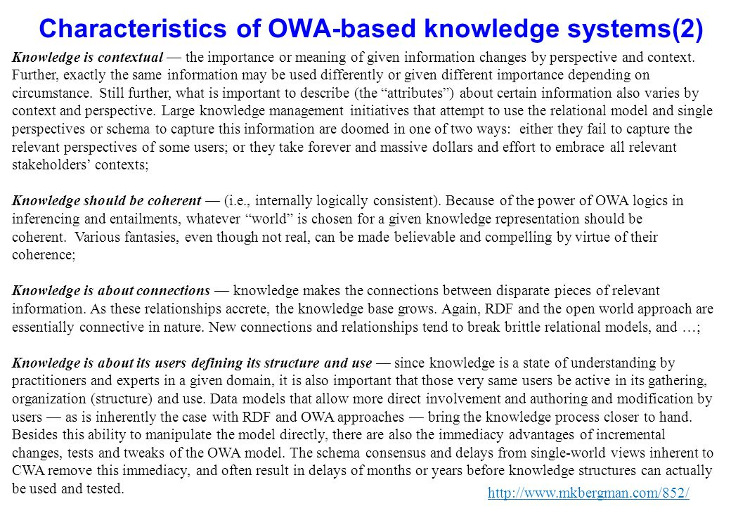Characteristics of OWA-based knowledge systems(2)