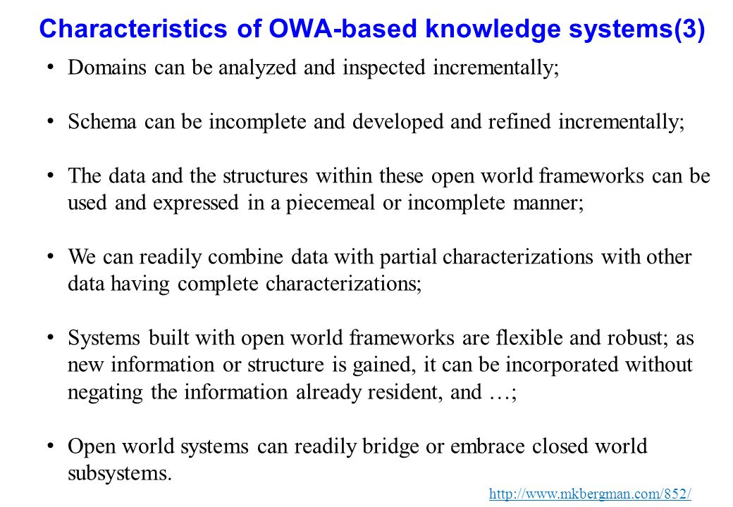 Characteristics of OWA-based knowledge systems(3)