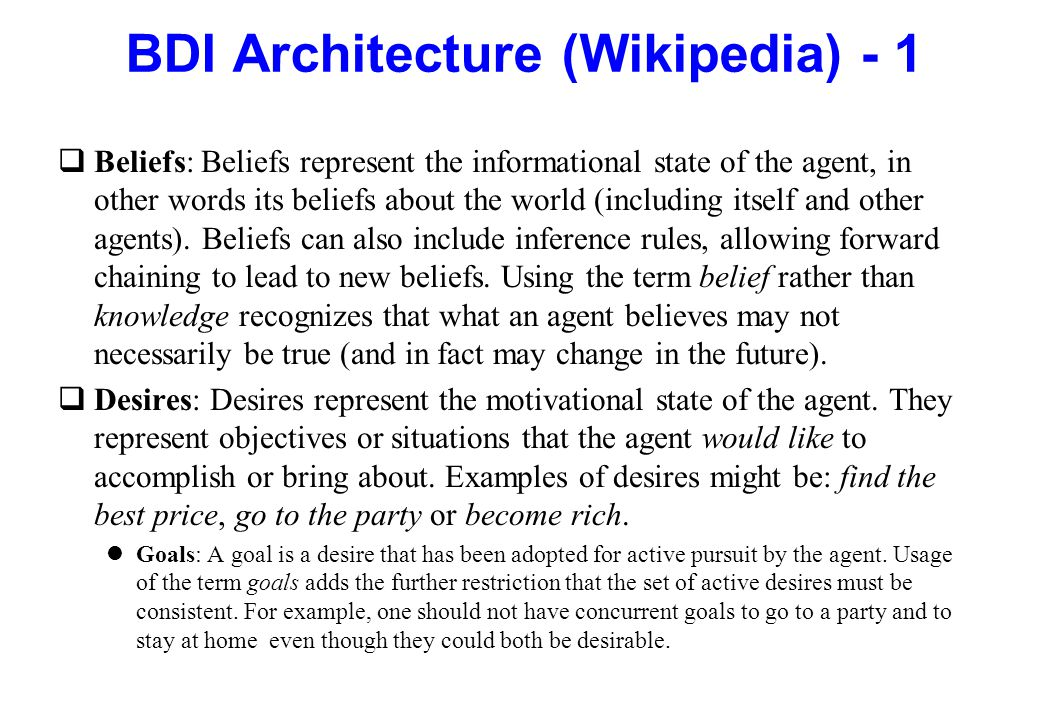 BDI Architecture (Wikipedia) - 1