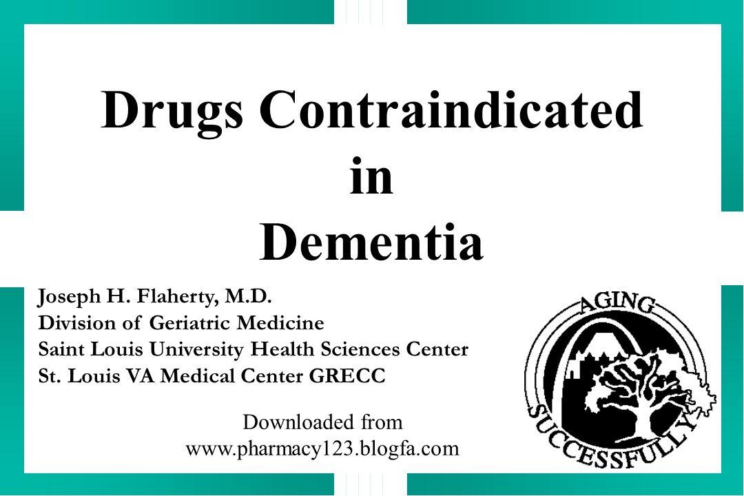 Drugs Contraindicated in Dementia