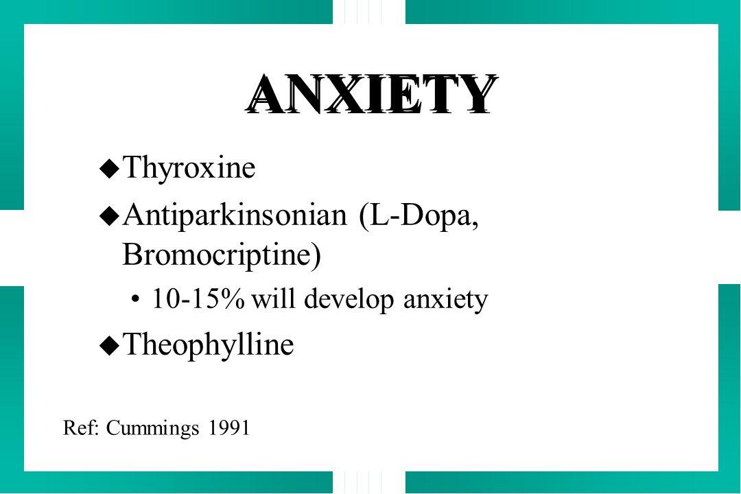 ANXIETY Thyroxine Antiparkinsonian (L-Dopa, Bromocriptine)