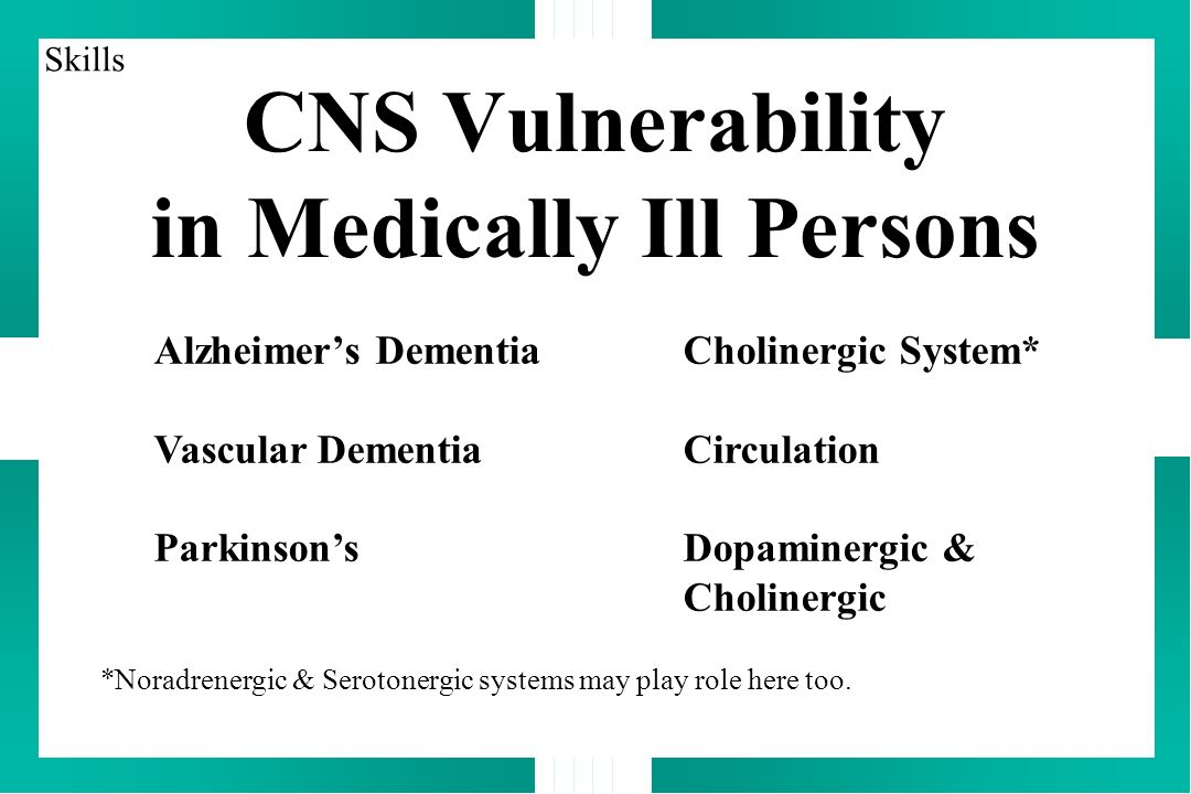 CNS Vulnerability in Medically Ill Persons