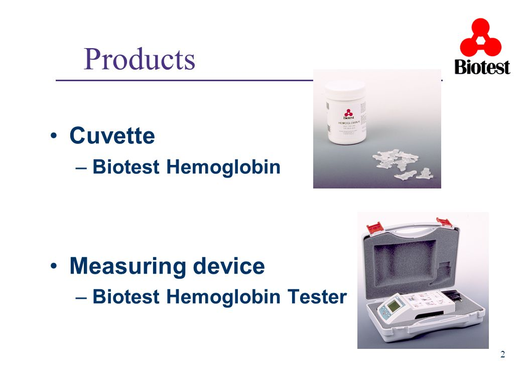 Products Cuvette Measuring device Biotest Hemoglobin