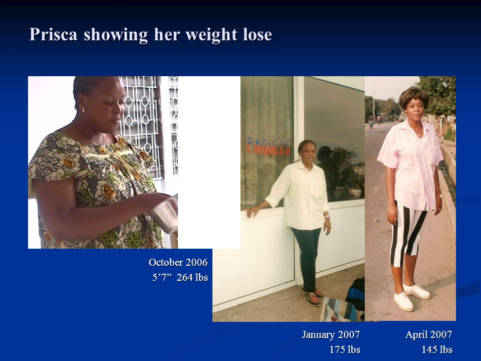 Prisca showing her weight lose
