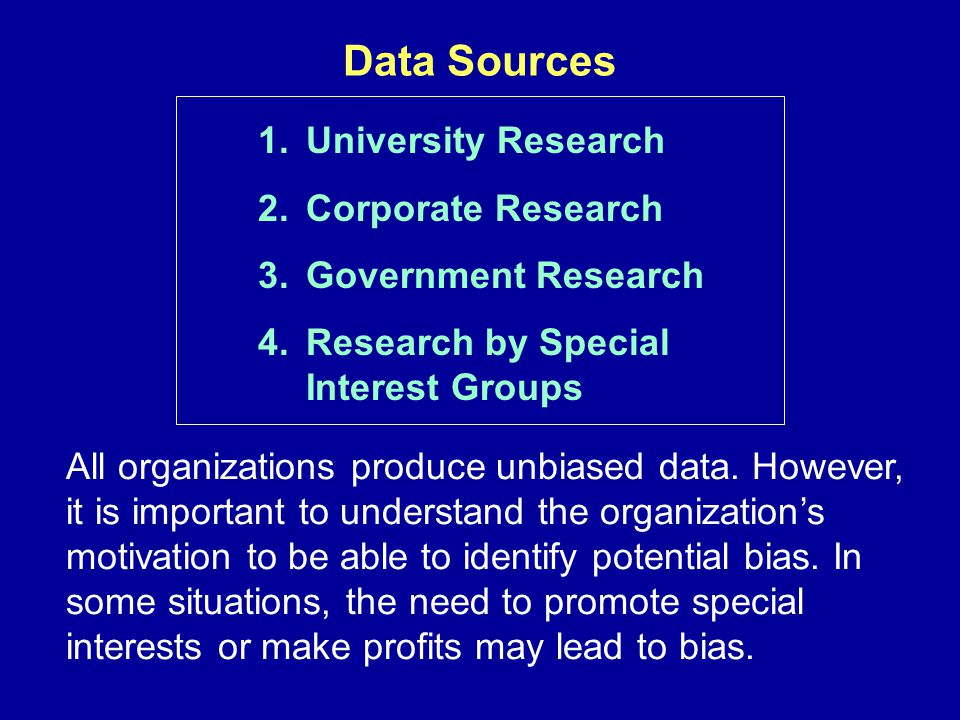 Data Sources University Research Corporate Research