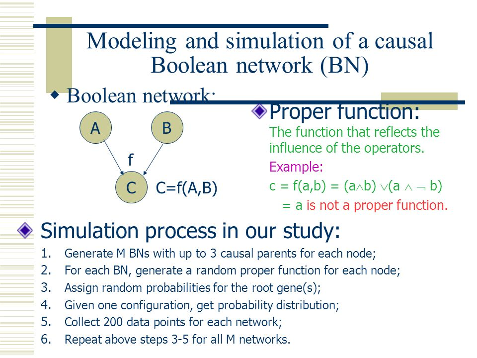 Modeling and simulation of a causal Boolean network (BN)