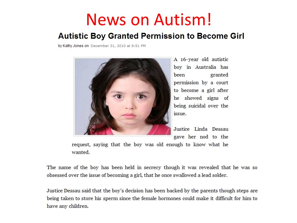 News on Autism!