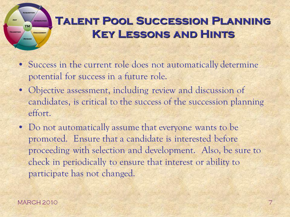 Talent Pool Succession Planning Key Lessons and Hints