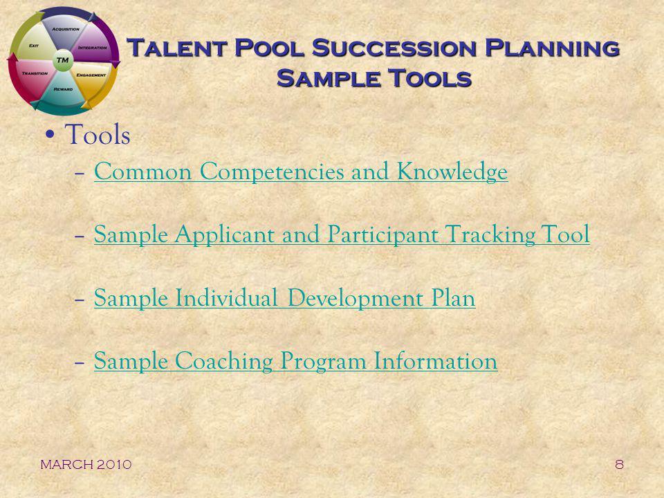 Talent Pool Succession Planning Sample Tools
