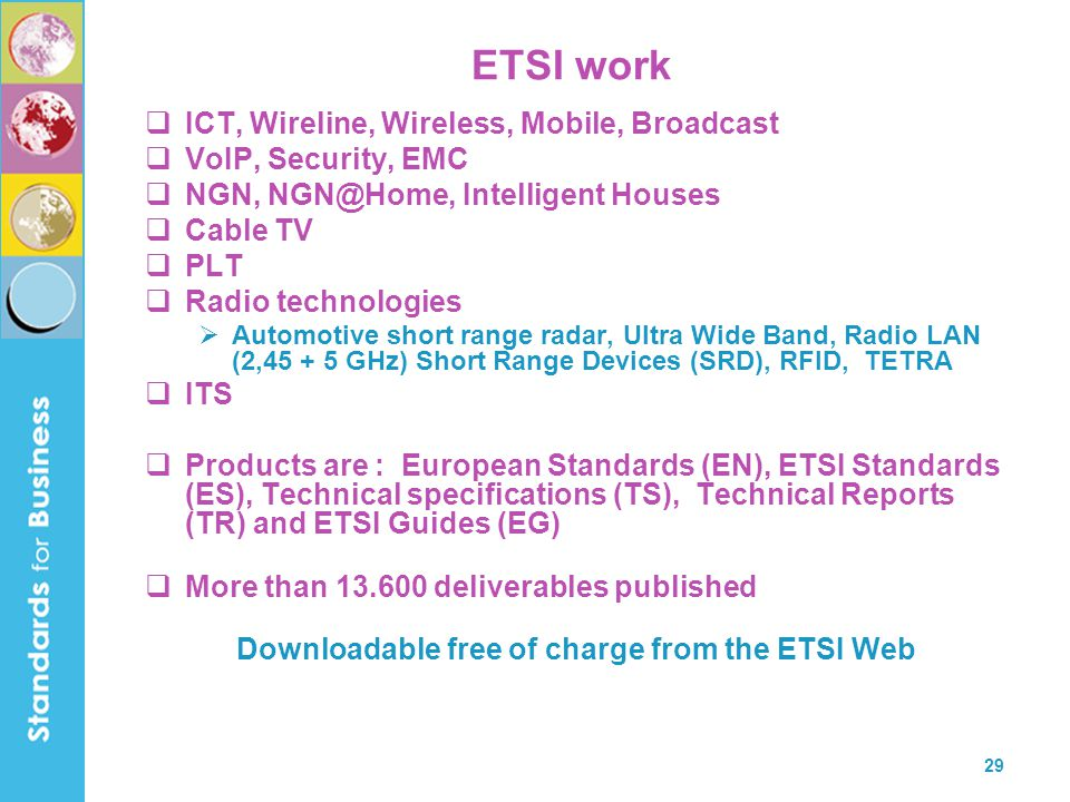 Downloadable free of charge from the ETSI Web