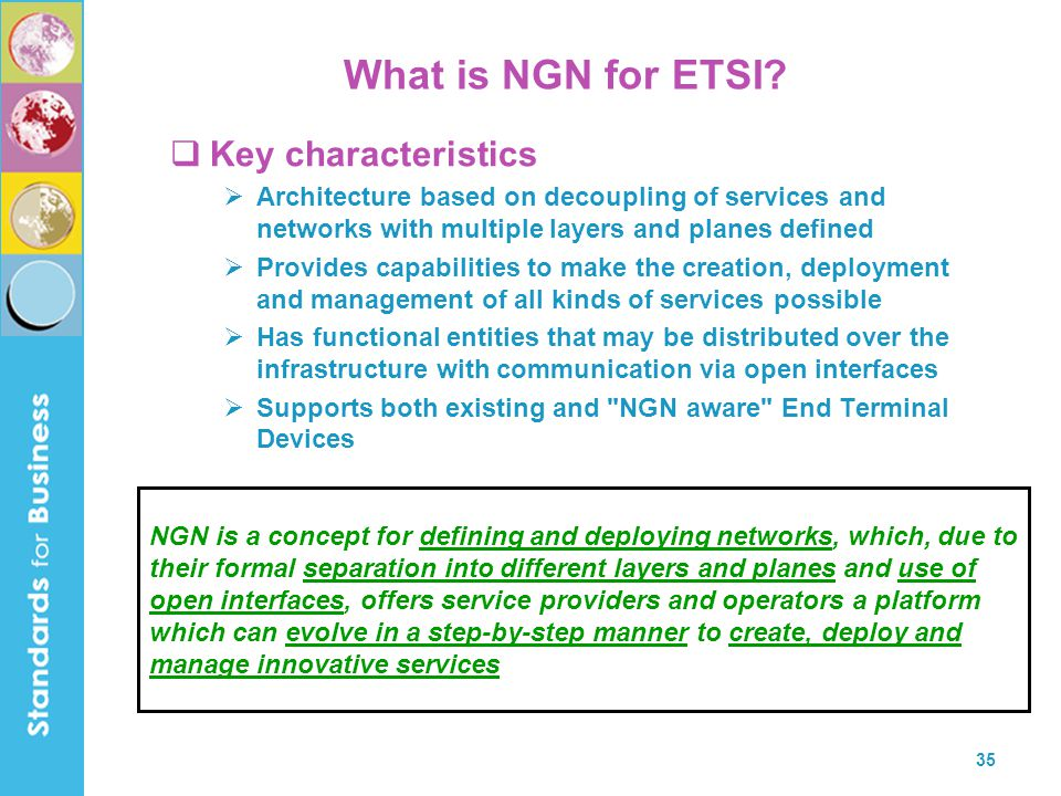 What is NGN for ETSI Key characteristics