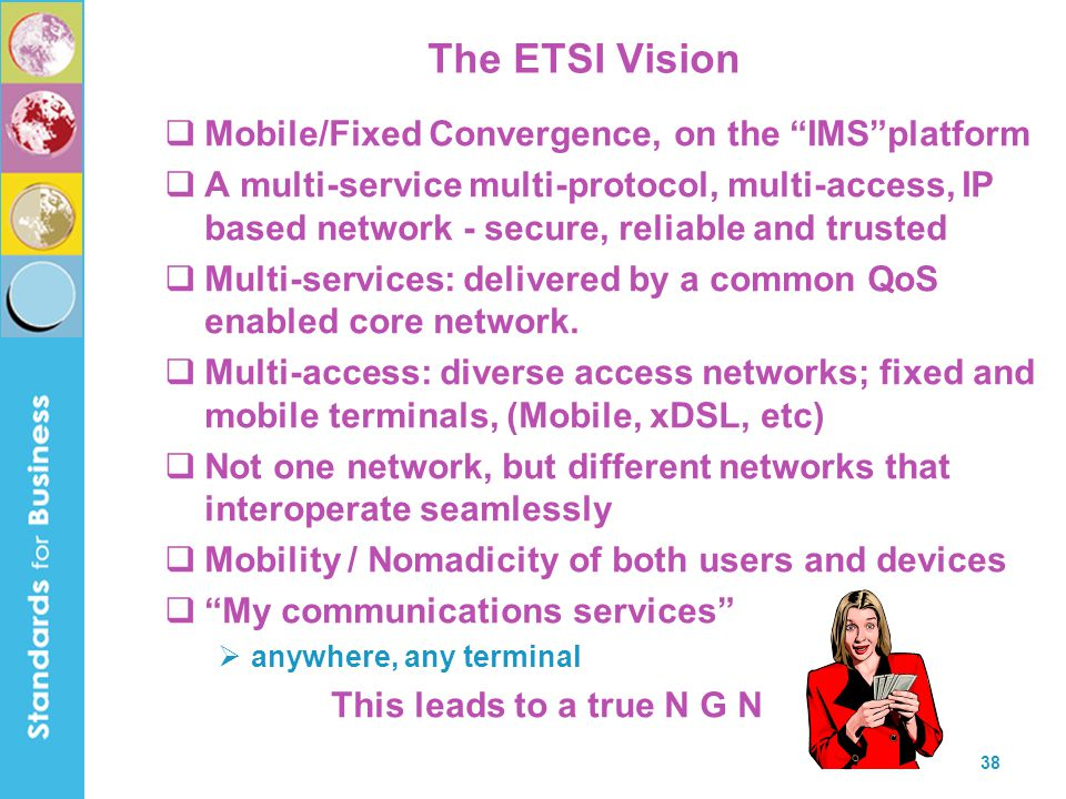 The ETSI Vision Mobile/Fixed Convergence, on the IMS platform