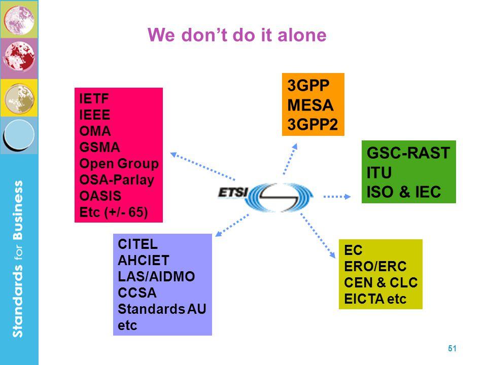 We don't do it alone 3GPP MESA 3GPP2 GSC-RAST ITU ISO & IEC IETF IEEE