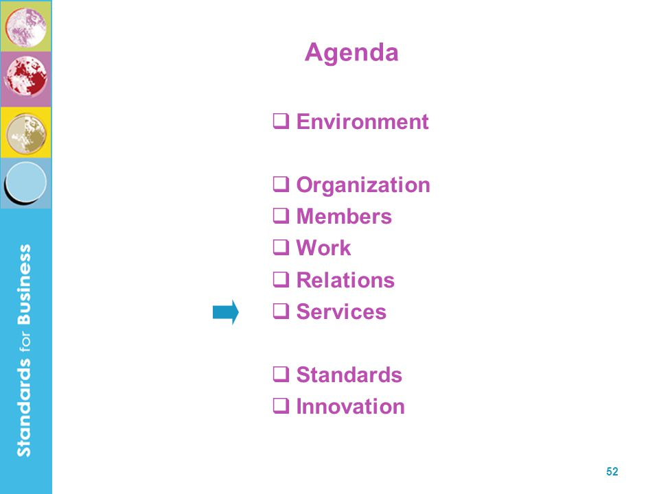 Agenda Environment Organization Members Work Relations Services