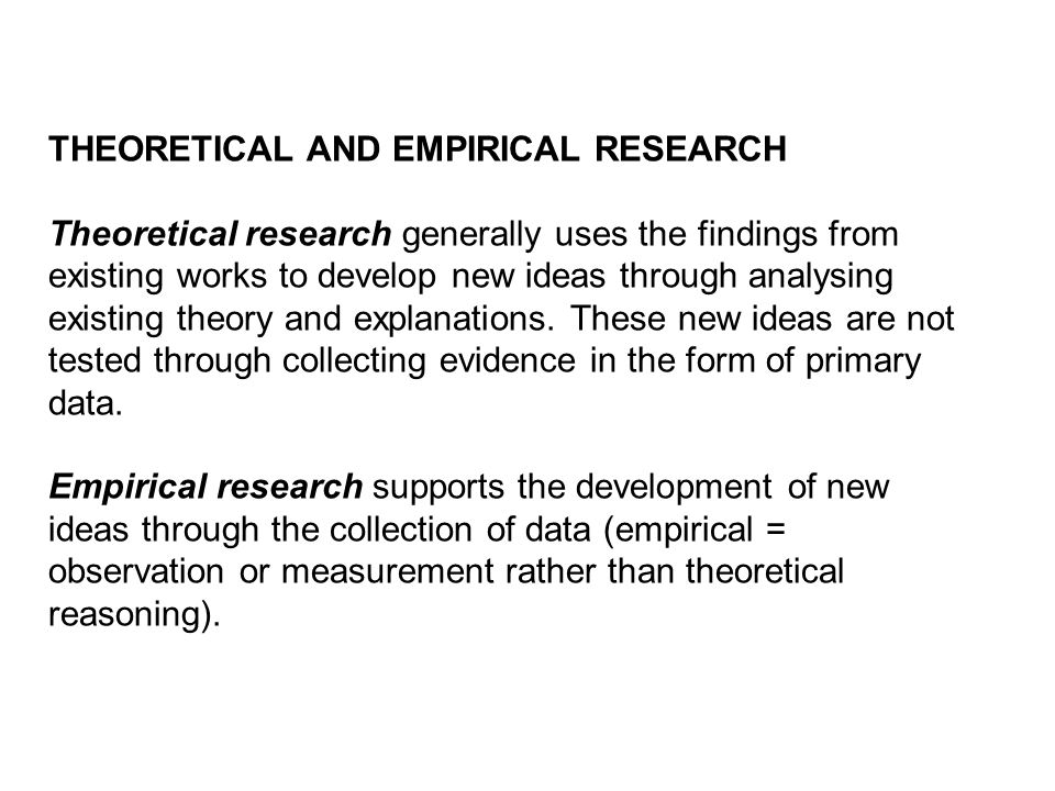 THEORETICAL AND EMPIRICAL RESEARCH