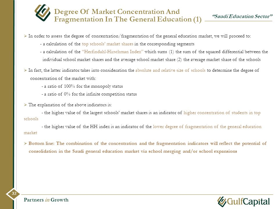 Degree Of Market Concentration And Fragmentation In The General Education (1)