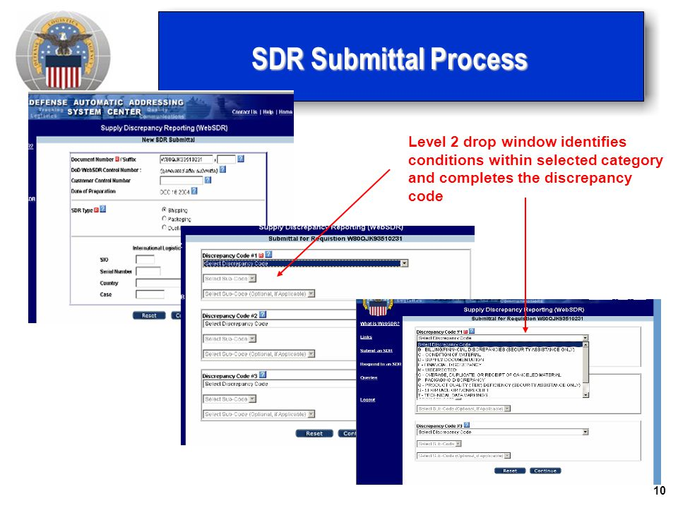 SDR Submittal Process Level 2 drop window identifies conditions within selected category and completes the discrepancy code.