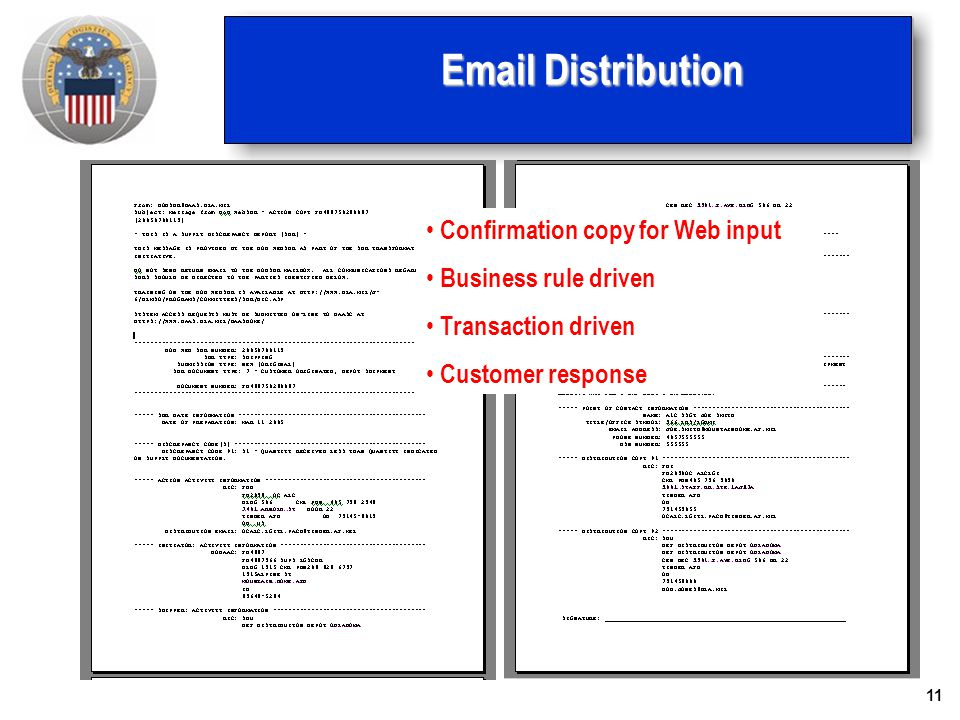Email Distribution Confirmation copy for Web input