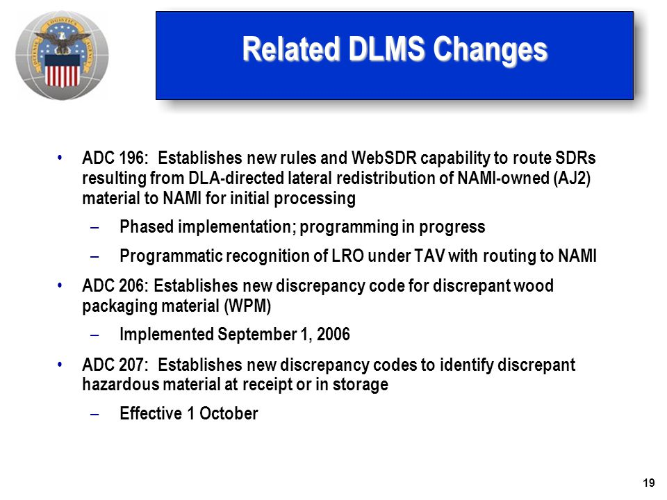 Related DLMS Changes