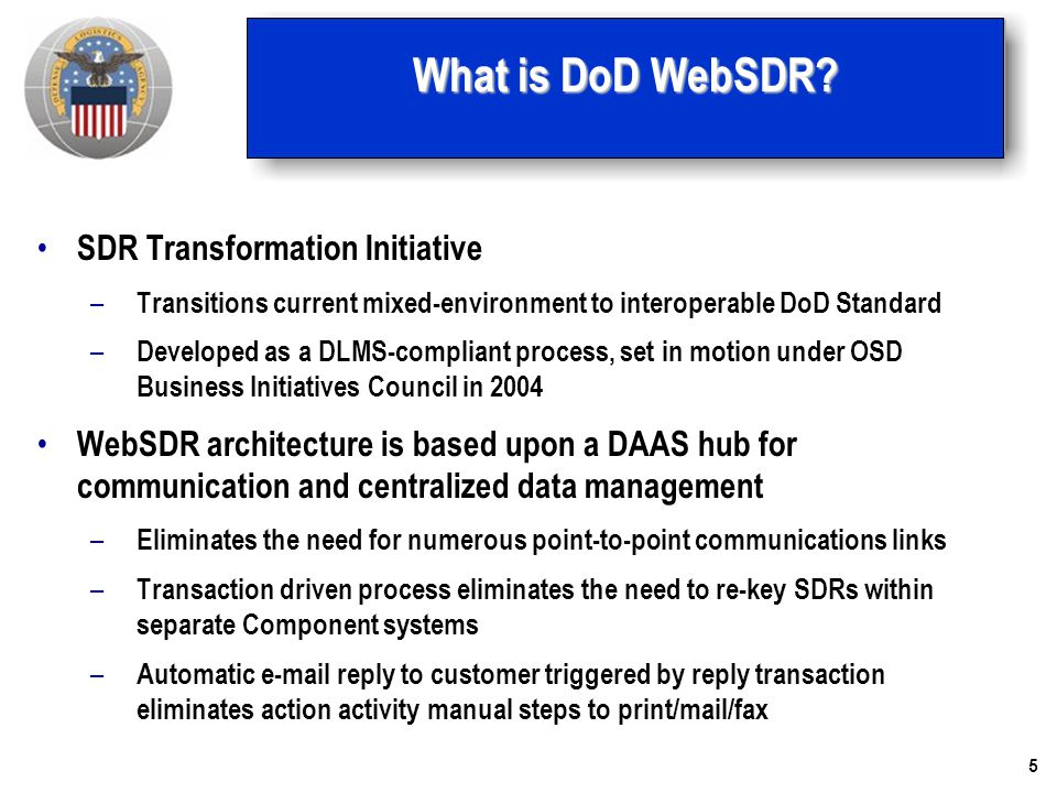 What is DoD WebSDR SDR Transformation Initiative