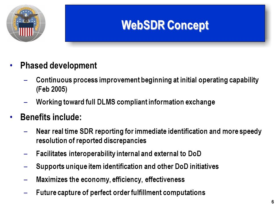WebSDR Concept Phased development Benefits include: