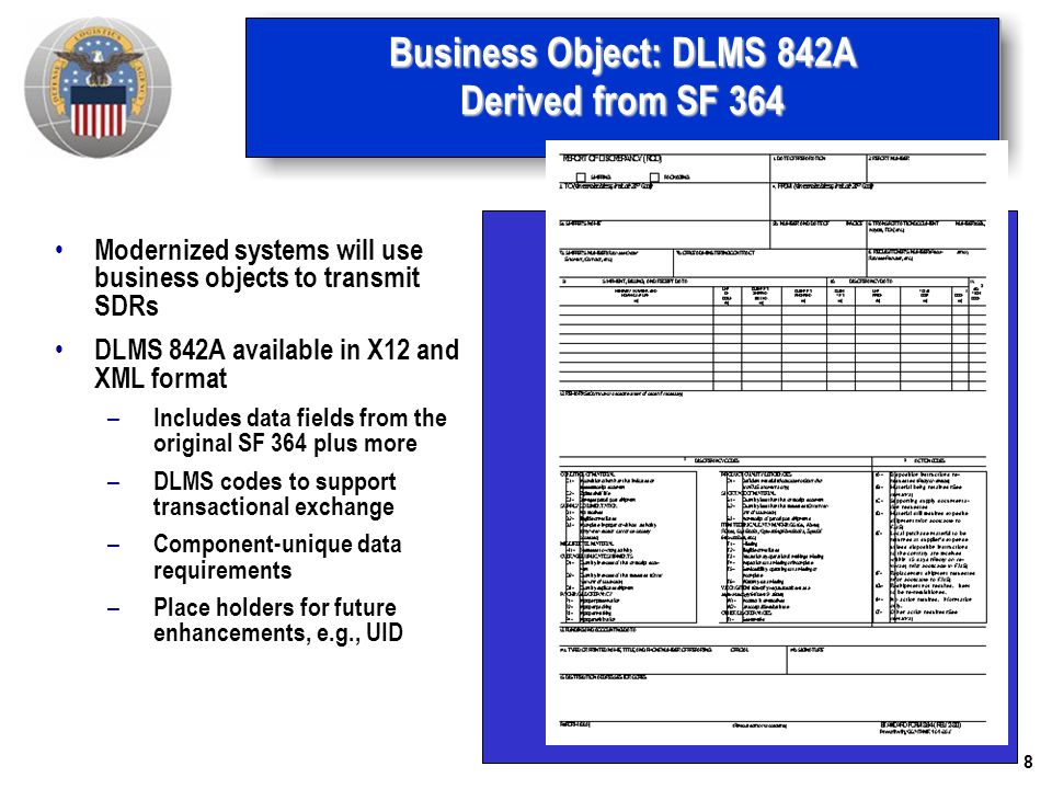 Business Object: DLMS 842A Derived from SF 364