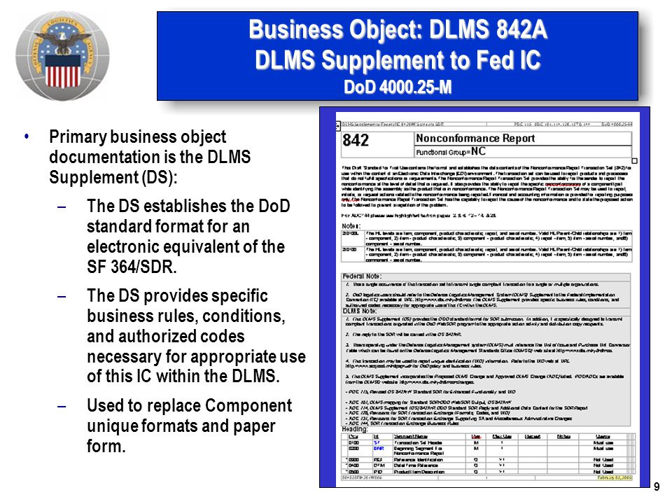 Business Object: DLMS 842A DLMS Supplement to Fed IC DoD 4000.25-M