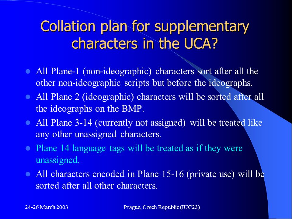 Collation plan for supplementary characters in the UCA