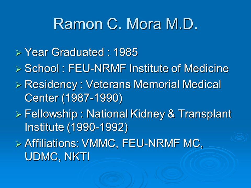 Ramon C. Mora M.D. Year Graduated : 1985