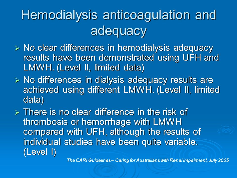Hemodialysis anticoagulation and adequacy