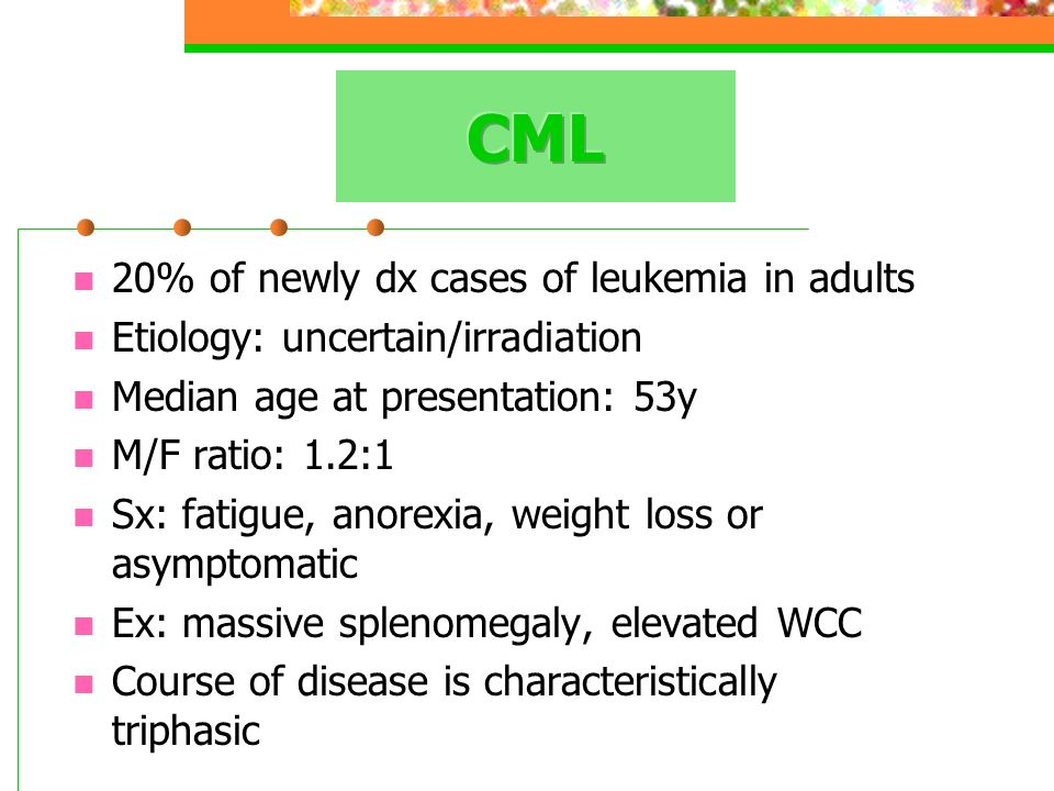 CML 20% of newly dx cases of leukemia in adults