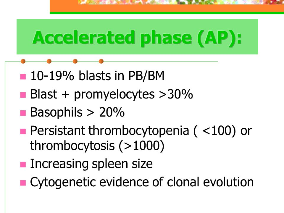 Accelerated phase (AP):