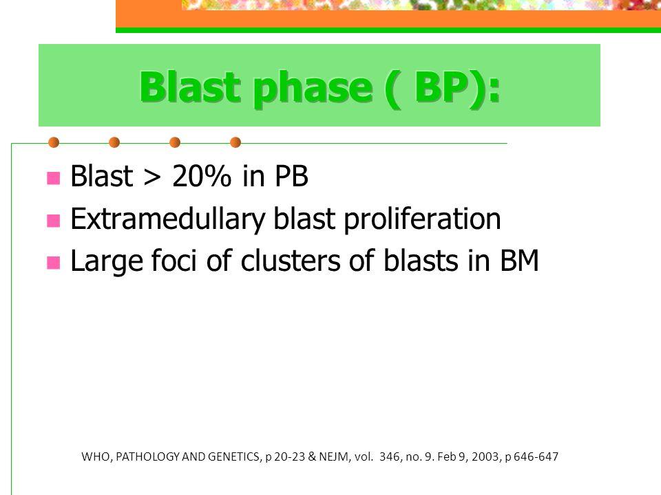 Blast phase ( BP): Blast > 20% in PB