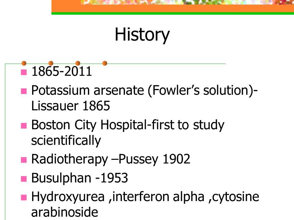 History 1865-2011 Potassium arsenate (Fowler's solution)-Lissauer 1865