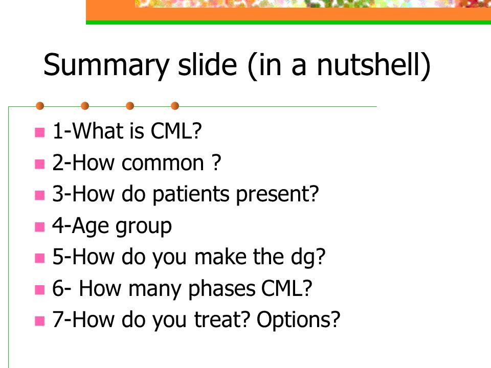 Summary slide (in a nutshell)