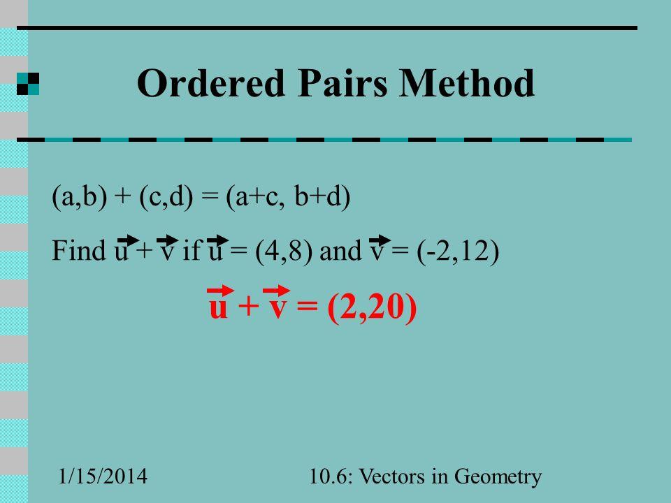 Ordered Pairs Method u + v = (2,20) (a,b) + (c,d) = (a+c, b+d)