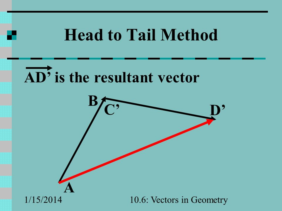Head to Tail Method AD' is the resultant vector B C' D' A 3/25/2017