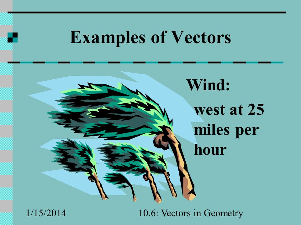 Examples of Vectors Wind: west at 25 miles per hour 3/25/2017