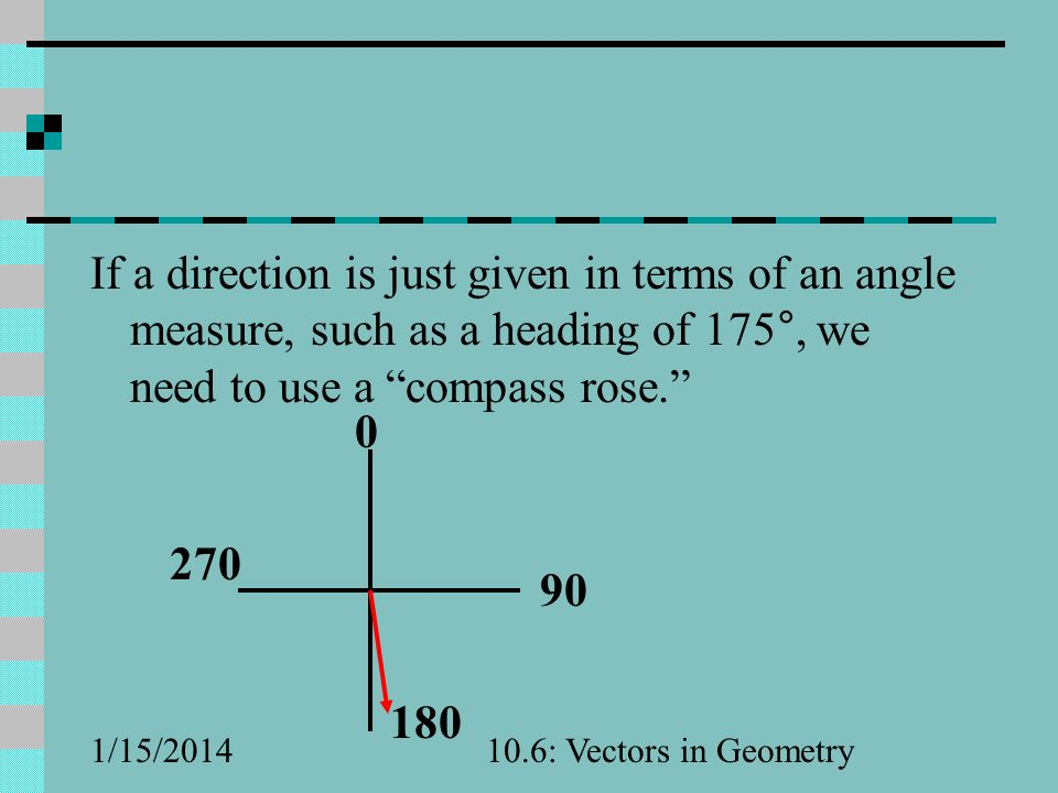 If a direction is just given in terms of an angle measure, such as a heading of 175°, we need to use a compass rose.