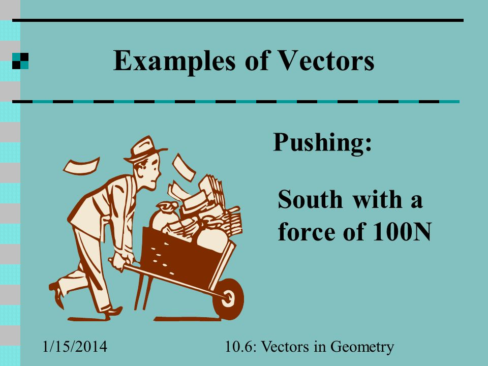 Examples of Vectors Pushing: South with a force of 100N 3/25/2017