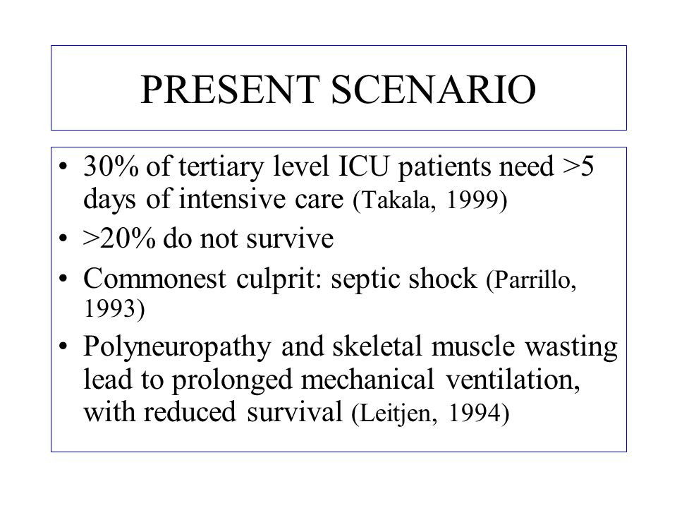 PRESENT SCENARIO 30% of tertiary level ICU patients need >5 days of intensive care (Takala, 1999) >20% do not survive.