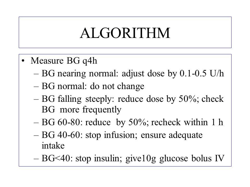 ALGORITHM Measure BG q4h BG nearing normal: adjust dose by 0.1-0.5 U/h