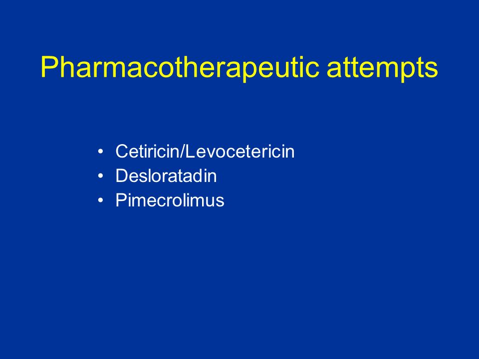 Pharmacotherapeutic attempts