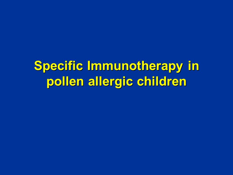 Specific Immunotherapy in pollen allergic children