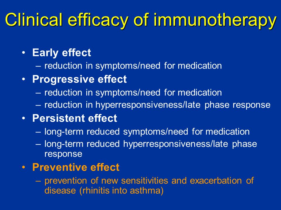 Clinical efficacy of immunotherapy