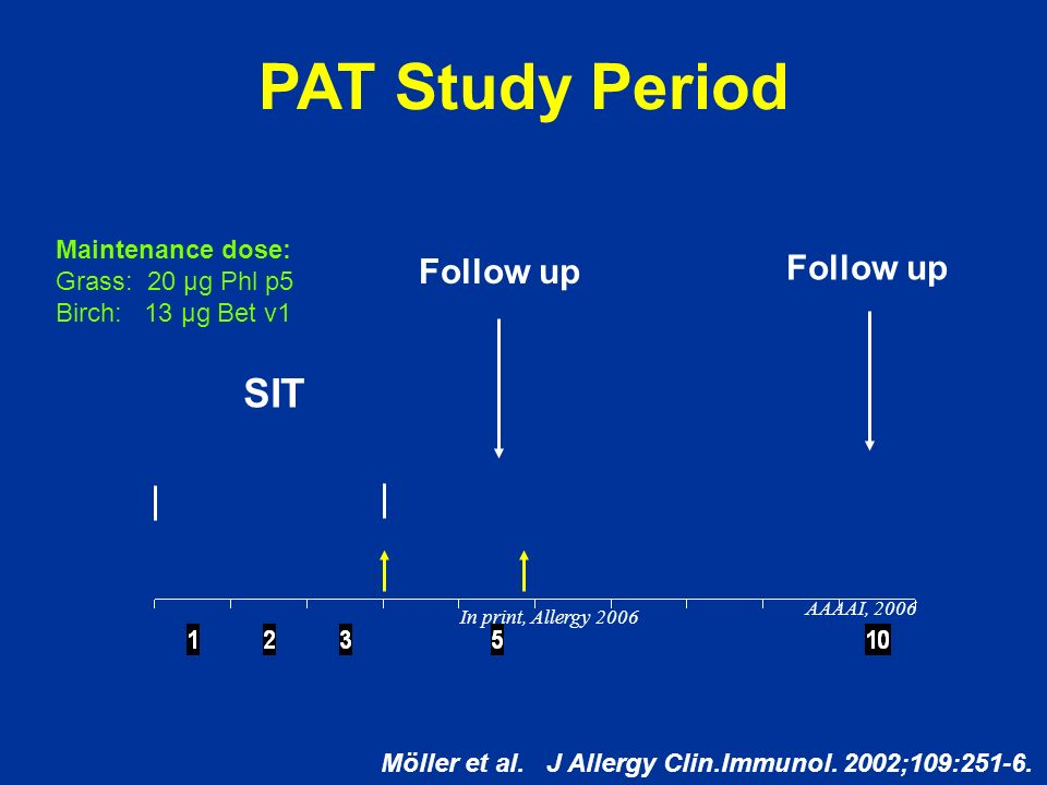 PAT Study Period SIT Follow up Follow up Maintenance dose: