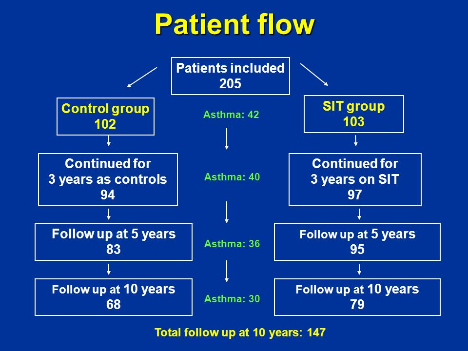 Patient flow Patients included 205 Control group 102 SIT group 103
