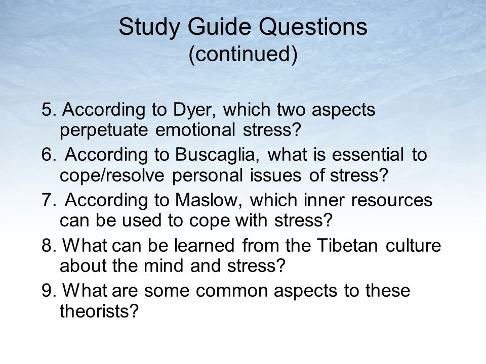 Study Guide Questions (continued)