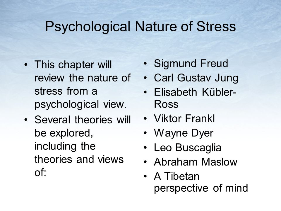 Psychological Nature of Stress